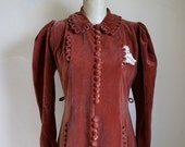 Vintage 1930s Burnished Rose Velvet Button Coat Dress / AS IS