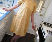 Vintage 1920s Light Ochre Embroidered Day/House Dress