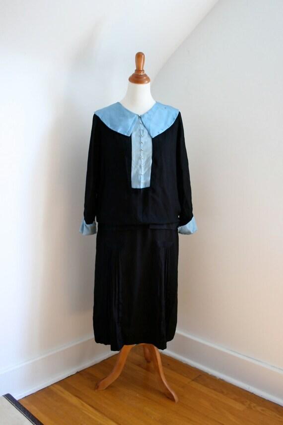 Vintage 1920s Dress Black Crepe Blue Silk--AS IS
