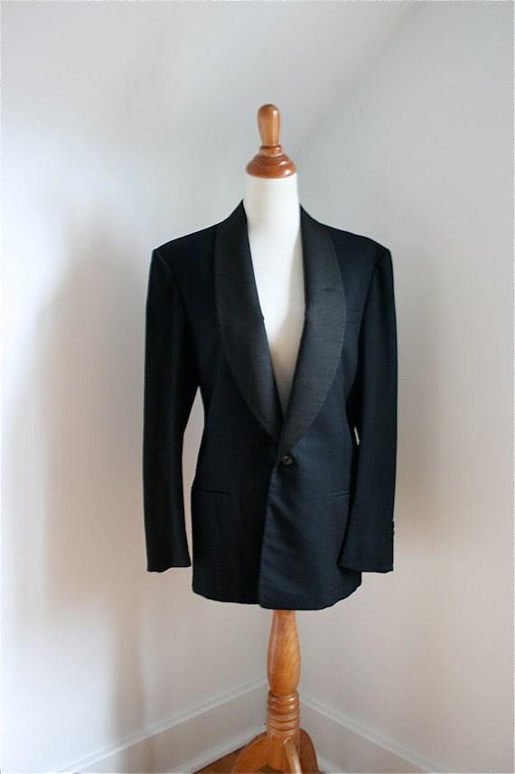 Vintage 1940s Men's Dinner Suit Black Jacket & Trousers