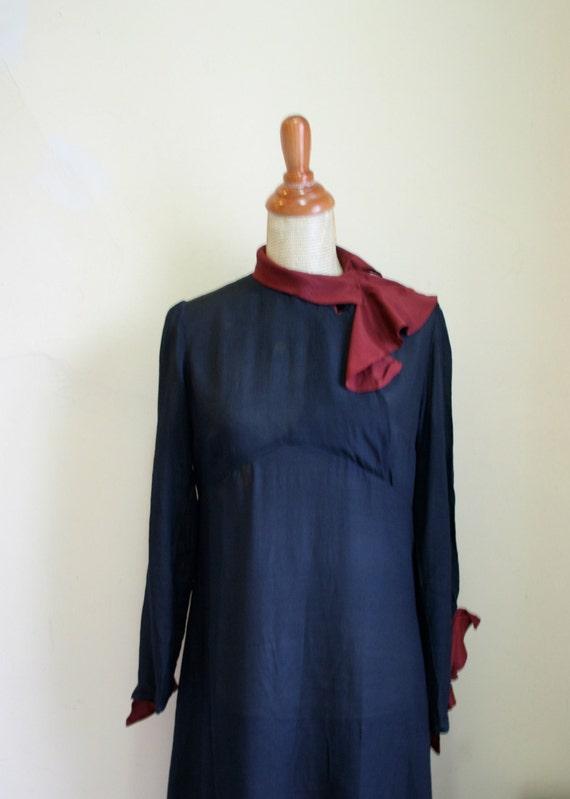 Vintage 1920s 1930s Navy & Burgundy Silk Ruffle Dress
