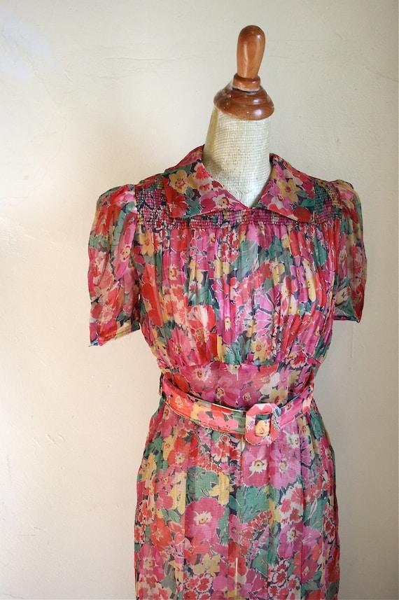 Vintage 1930s Vibrant Floral Sheer Georgette Dress