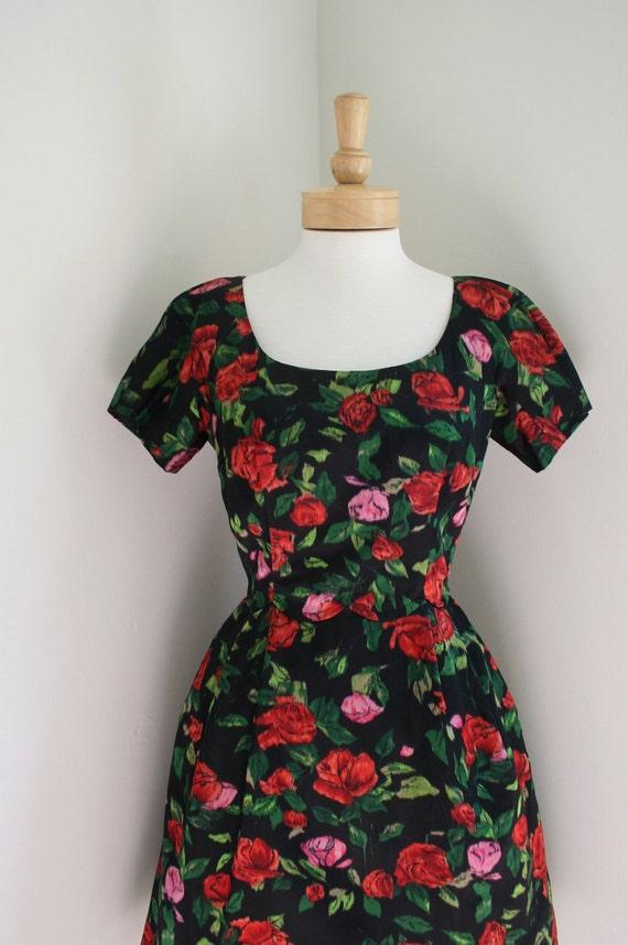 Vintage 1950s to 60s Black Satin Ikat Rose Print Cocktail Dress