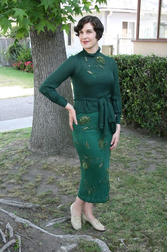 Vintage 1930s Green & Gold Appliqued Blouse Skirt Dress Set
