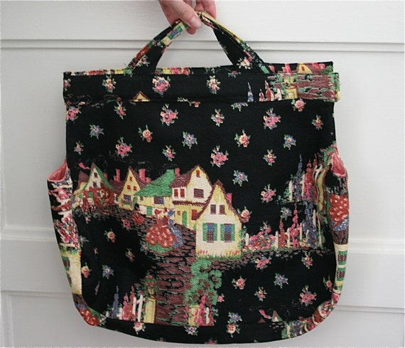 Vintage 1940s Cottage Colonial Themed Barkcloth Bag