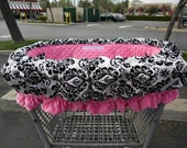 DAMASK w/ PINK MINKY Seat and Ruffle Shopping Cart Cover and High Chair Cover - More Fabric Options in Listing For Boy or Girl