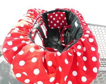 MINNIE MOUSE Red w/White Polka Dot and Black Seat Shopping Cart Cover - Black Dots, Pink Dots and Zebra available