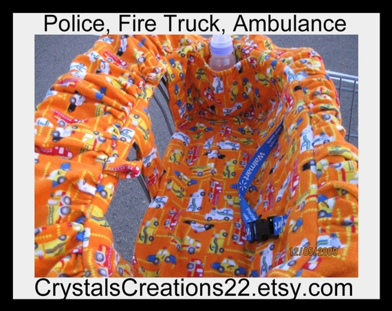 Baby Shopping Cart Cover and High Chair Cover--Flannel POLICE, FIRE TRUCK, AMBULANCE