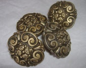 Lot of 4 Vintage Drawer Knob Pulls (( brass most likely ))