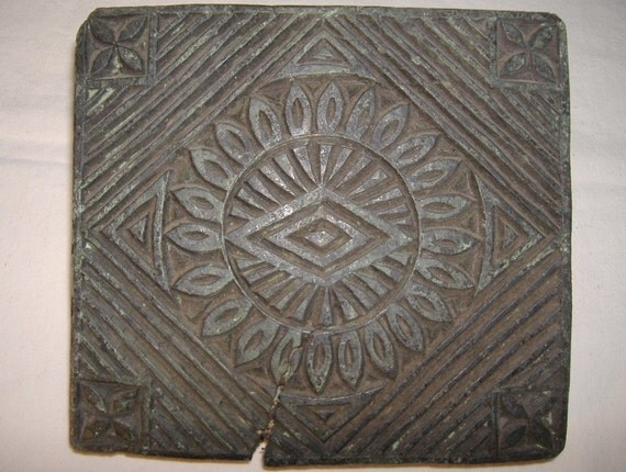 Vintage hand carved wood stamp blocks sunburst