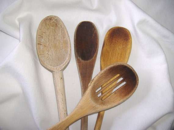 Vintage Primitive Kitchen Wooden Spoons . . . 4 count . . . worn patina