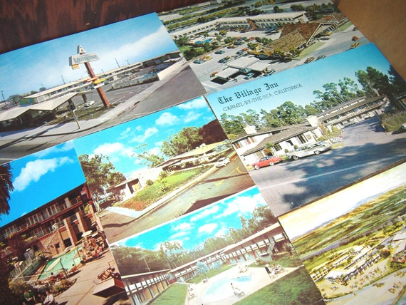 Vintage California Coast Motor Inns Postcards . . . Unused . . . 6 count