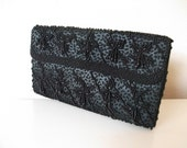 1950s Black Beaded Formal Clutch
