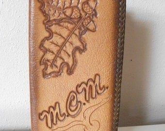 SALE! Tooled 70's Leather Checkbook Case