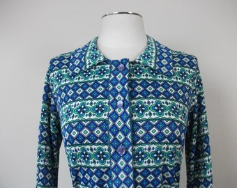 SALE! 70s Blue, Green, and White Belted Dress Shirt, Size S/M