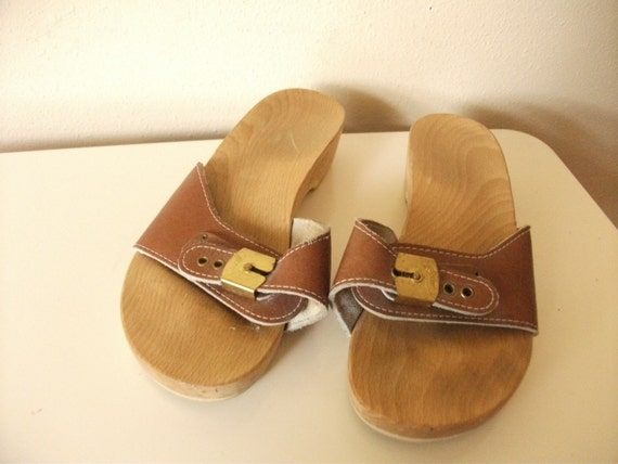 Classic 1970s Brown Leather Dr Scholls Clog Sandals Size 7
