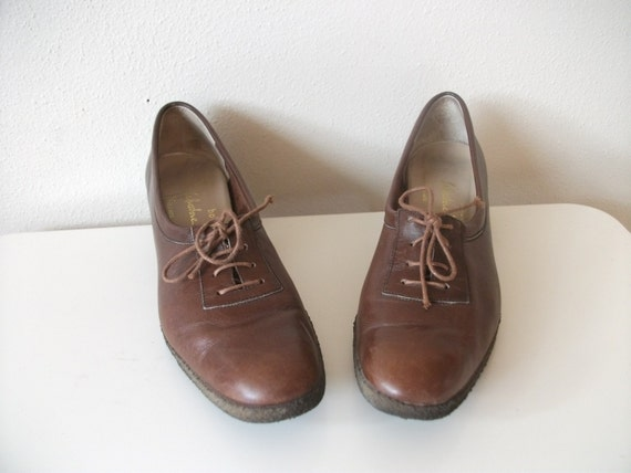 Caramel Brown Ferragamo Oxfords, Size 7 Narrow