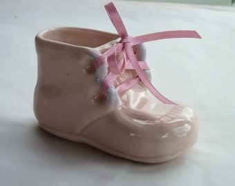 Baby Girl Pink Ceramic Bootie Planter