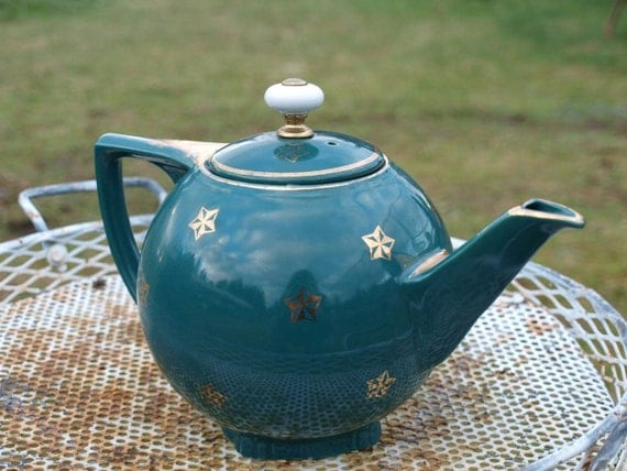 Vintage Hall Tea Pot Gold Leaf On Teal By Tokulroadvintage