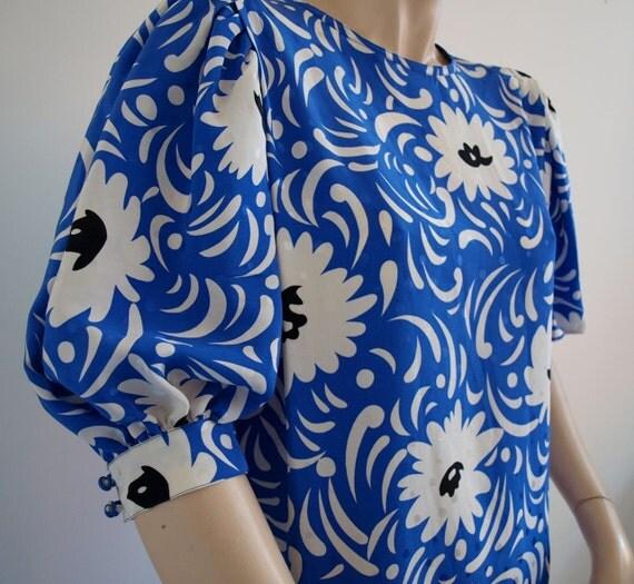 Blue Silk Flower Dress Vintage 1980s