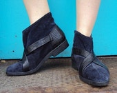 1980s Vintage Seducta France Purple Suede Ankle Boots