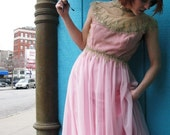 1960s Custom Made Cotton Candy Princess Evening Gown