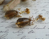 Earrings Smokey Topaz and Pearl Cluster - IndulgedGirl