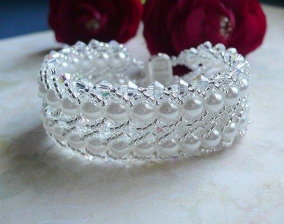 Bracelet Swarovski Crystal and Pearl Woven Double Flat Spiral