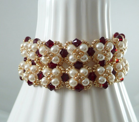 Woven Bracelet Pearl and Swarovski Crystal with Matching Earrings