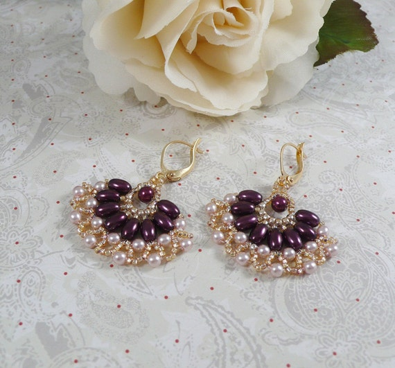Woven Earrings with Burgundy Oval Pearls
