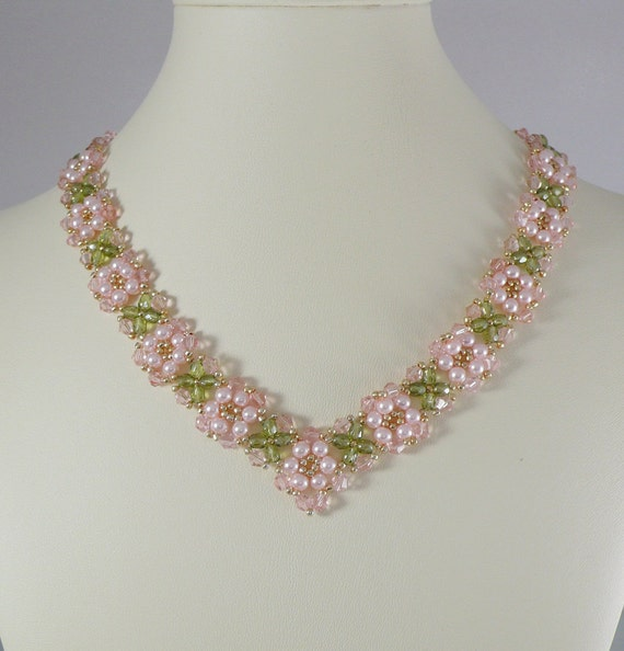 Woven Necklace Pearl and Rosaline Swarovski Crystal