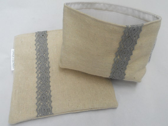 Two Natural Cotton Reusable Lunch Bags adorned with Lace /Reusable Snack & Sandwich Bags