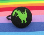 T-rex ponytail holder, fabric covered button