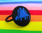Stegosaurus ponytail holder, fabric covered button