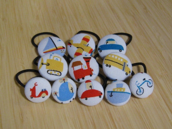 Vehicle ponytail holders, fabric covered buttons, the complete set