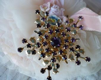 Purple Rhinestone Brooch ~ Vintage Ladies Jewelry ~ Birthstone ~ Gift Giving for Mom, sister or wife