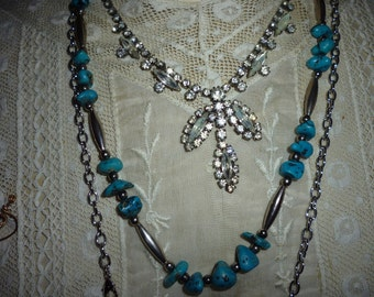Turquoise Necklace ~Sterling Silver and Turquoise Beaded ~ Vintage Necklace ~ Ladies Gift ~ Western Jewelry ~ Vintage Jewelry ~ Gift for Her