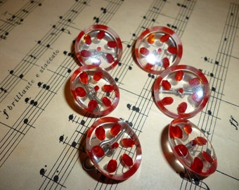 Antique Shank Buttons ~  Clear With Red Design ~ Unique Buttons ~ Vintage Sewing Notions ~ Christmas Crafts ~ Old Buttons