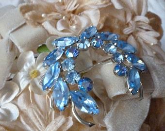 Pale Blue Rhinestone Brooch ~  Beau Geste ~ Vintage Pin ~  Bridal Gift ~  Something Blue~Gift for Mom Sister Aunt Grandma~ Signed Brooch