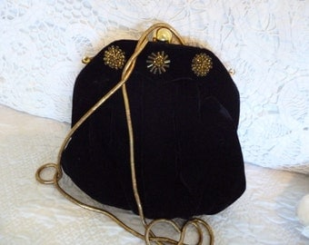 Pretty Vintage Black Velvet Evening Bag Gold Beads