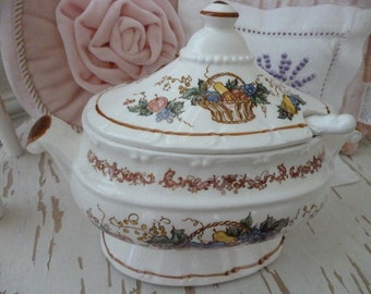 Gravy Tureen Lid Spoon Transferware Browns Fruit Basket