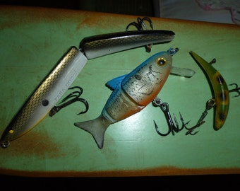 Vintage Fishing Lures Heddon Rubber Wooden