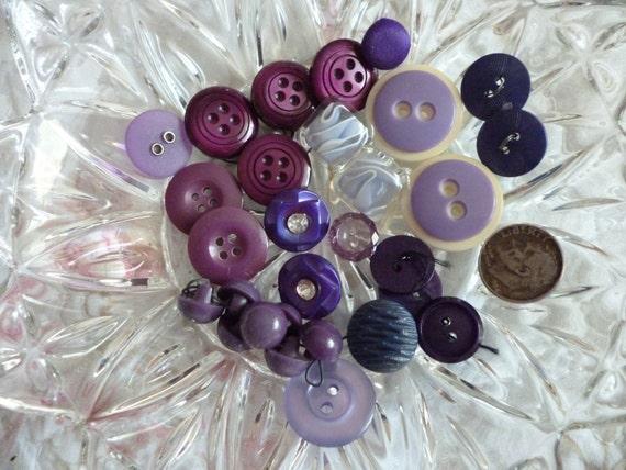 Assorted Vintage Purple Buttons