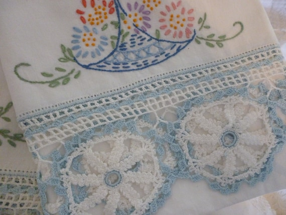 Beautiful Pair Of Embroidered Pillow Cases Pale Blue Floral