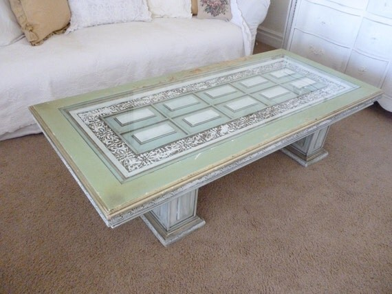 Large distressed shabby chic cottage coffee table green teal for Teal coffee table