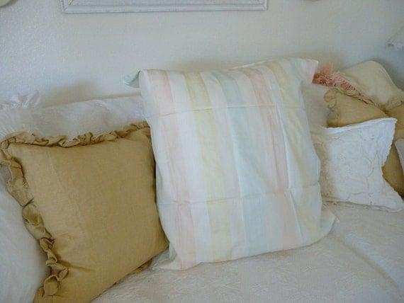 Large Euro Pillow Sham Pastel Pink Yellow by nanciesvintagenest