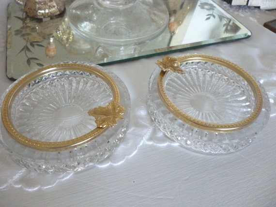 Pretty Crystal Gold Rimmed Dishes With Leaf