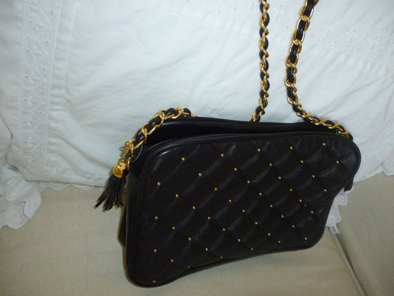 Nice Vintage Quilted Black Purse Chain Strap