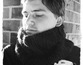 Knit cowl for men, super warm and comfortable wool GRAY