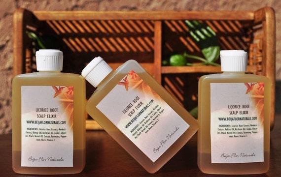 Hair Oil Licorice Root Scalp Elixir (4oz) Treatment for dry, itchy scalp, hair growth aid.